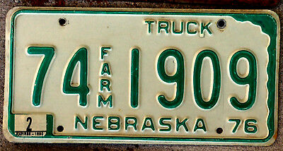 1976 Green on White Nebraska Farm Truck License Plate with a 1980 Sticker