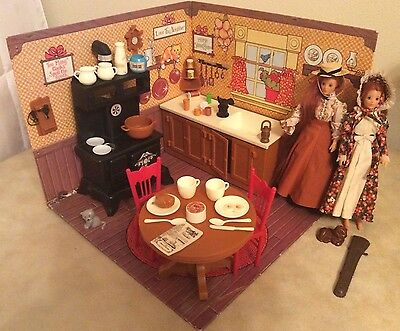 Vtg Ideal Toys Jody Dolls and Country Kitchen Lot w/Stove, Sink, Table, & More
