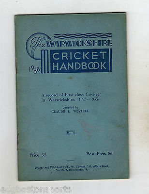 Warwickshire CCC Original 1936 Handbook in Good Condition