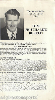 Tom Pritchard Warwickshire (New Zealand) Benefit Pamphlet 1952 Ben Match v Essex