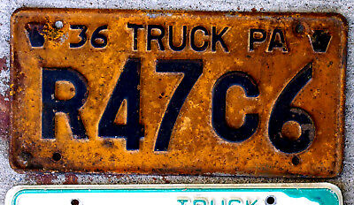 1936 Blue on Orange Pennsylvania Truck License Plate