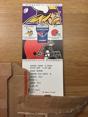 2 x NFL LONDON TWICKENHAM Tickets VIKINGS V BROWNS 29/10/17
