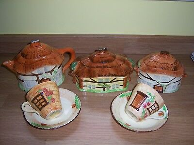 BURLINGTON WARE DEVON COBB TEAPOT, POTS, CUPS & SAUCERS C1950's