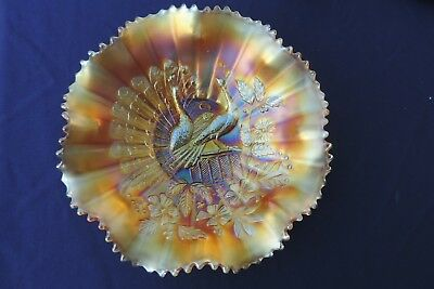 """Northwood Stunning Marigold Peacock On The Fence Ruffle Bowl!!  Almost 8 3/4"""""""