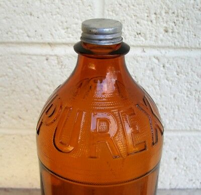 Vintage PUREX BROWN Glass Bleach BOTTLE with Silver Screw Top- Embossed 1940s Am