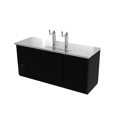 """Direct Draw Beer Cooler, 80"""" wide, three‐section, 3 solid doors, Asber ADDC-78"""
