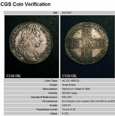 1698 AEF William III Silver Half Crown Coin CGS 55, ~AU55  ☆☆☆ Price Reduced ☆☆☆