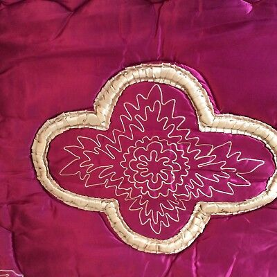 Vintage 20/30's red satin feather quilt / eiderdown with embroidery