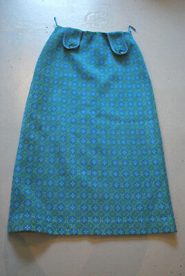 Vintage Welsh Wool Tapestry maxi Skirt 30 inch waist project fabric cushions 70s