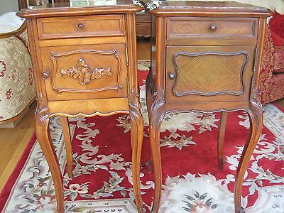 Pair Of Louis Xvi Walnut & Marble Bedside Cabinets French Antique Cupboard 16