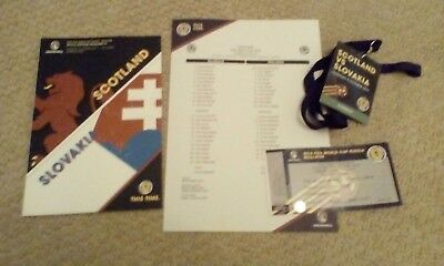 Scotland  V Slovakia programme, ticket, pass & teamsheet 5th October 2017