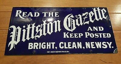 Rare Early 1900s Ing Rich porcelain newspaper sign with original label NOS