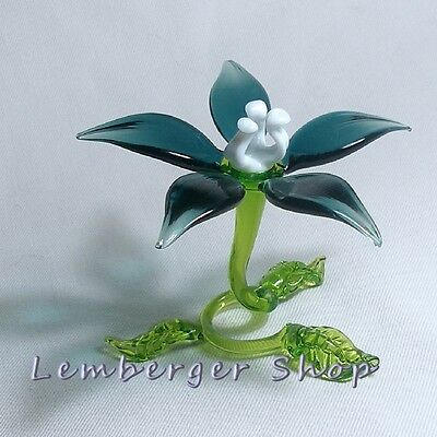 Self-standig flower made of colored glass. Width 10 cm / 4 inch!