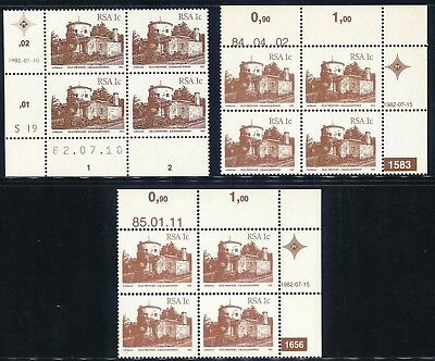 South Africa 1982/85 Fourth Definitive Series different 1c Control Blocks x (3)