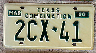 1980 White on Green Texas Combination License Plate