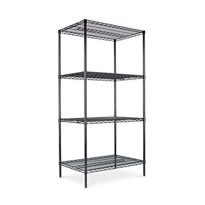 Industrial Heavy-Duty Wire Shelving 4 Shelf 36w x 24d x 72h Black Garage Storage