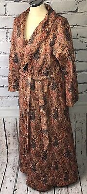 VTG 60s 70s Ladies Housecoat Dressing Gown Quilted House Of Fraser 16 18