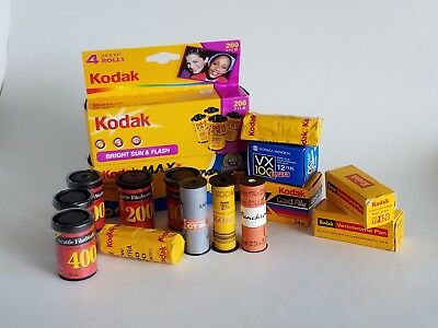 Lot, collection of vintage, expired films, Kodak 620, 120, 135, Agfa