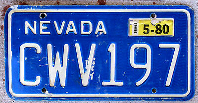 Blue with Incused White Lettering Nevada License Plate with a 1980 Sticker