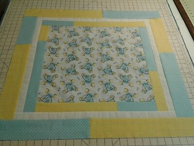 """Quilt top unfinished """"Blue Elephants"""" For Baby"""