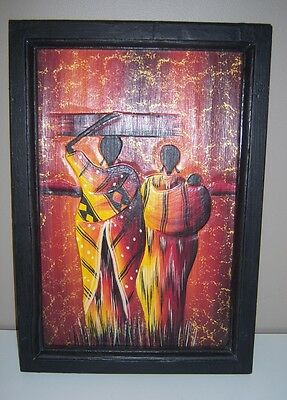 Wood Carved African Family Picture and Frame - NEW