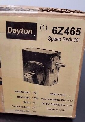 Dayton Speed Reducer Gear Box Electric Motor 1/3 HP, 10:1, 1750 to 175 rpm 6Z465