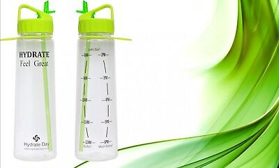 Hydrateday Motivational Water Bottle  - With Hourly Water Tracker