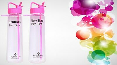 2 X Pink Hydrateday Water Bottles  - Motivational Hourly Tracker