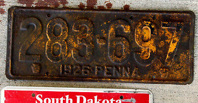1926 Pennsylvania License Plate