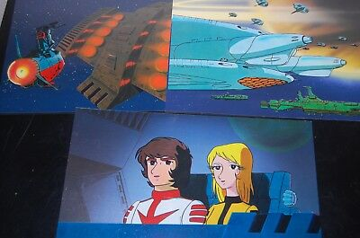 Space Battleship Yamato Cels - 3 Non-Production Cels w/Cardboard Backing MINT