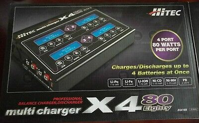 Hitec X4 80 4 Port DC Multi-Charger AND 12VDC Power Supply (44169)