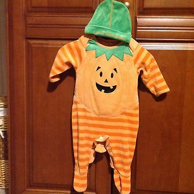 Baby Boys Pumpkin Halloween Outfit With Hat, Size 3-6 Months,