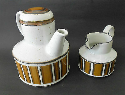 Vintage Midwinter Stonehenge Earth Stoneware Tea Pot With Lid And Creamer Jug