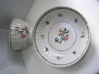 Antique Chinese Famille Rose porcelain teabowl & saucer flowers C1790 No4
