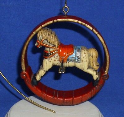 Vtg Hallmark Nostalgia Ornament Rocking Horse 1975 1976 Wood Look Used No Box