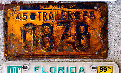 1945 Blue on Orange Pennsylvania Trailer License Plate