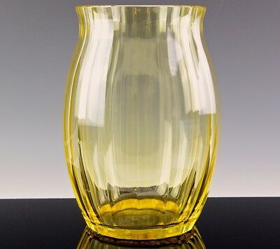 Gorgeous Very Large Art Deco Signed Moser Czech Canary Yellow Cut Glass Vase N/r