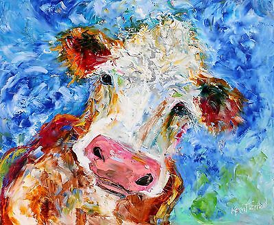 3 Postcards of Abstract Bovine Cow Portrait Painting by Karen Tarlton