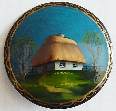 Vintage Russian Hand Painted Wood Lacquer Brooch