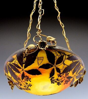 SUPERB LARGE c1910 DAUM NANCY FRENCH CAMEO CUT GLASS CEILING LAMP FIXTURE SHADE