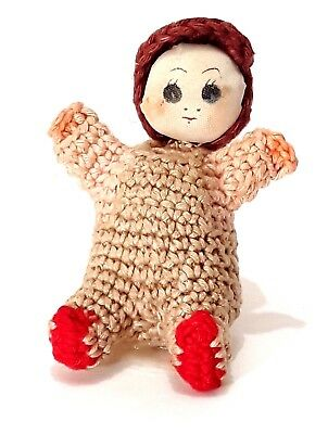 Vintage Hand Knit Baby Amigurumi Japanese Crochet Cloth Miniature Doll House Toy