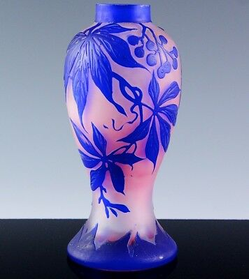 FINEc1920 SIGNED DUCOBU ART DECO FRENCH CAMEO GLASS BLUE FLOWER PINK ENAMEL VASE