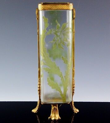 RARE LARGE c1920 ART DECO VAL ST LAMBERT CAMEO CUT ART GLASS BRONZE MOUNTED VASE