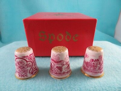 3 SPODE Red Toile Thimbles Boxed
