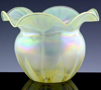 FANTASTIC c1920 ART DECO AUSTRIAN VASELINE OPALESCENT ART GLASS ROSE BOWL VASE