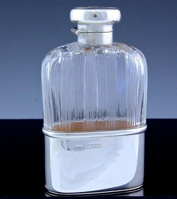 Superb 1915 Art Deco London Sterling Silver & Cut Glass Whiskey Hip Pocket Flask