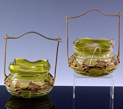 GORGEOUS PAIR c1890 ART NOUVEAU AUSTRIAN ART GLASS BASKET VASE PALME KONIG LOETZ