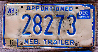 Blue/White Nebraska Apportioned Trailer License Plate with 1980 & 1981 Stickers