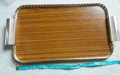 Woodmet Vintage 70s Small Brown Mock Wood Gold Tone Frame Serving Tea Tray -Gift