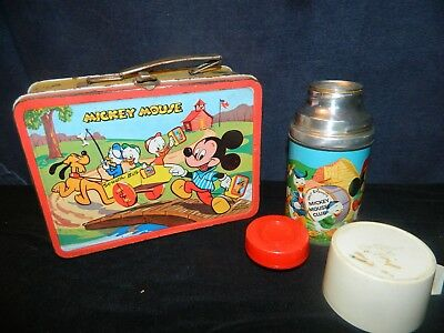1950-60 VTG Walt Disney Mickey Mouse and Donald Duck Lunch Box! Nice w/Thermos